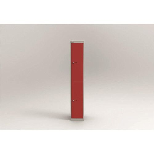 Bisley Steel Locker 305mm Deep 2 Door Grey &Red