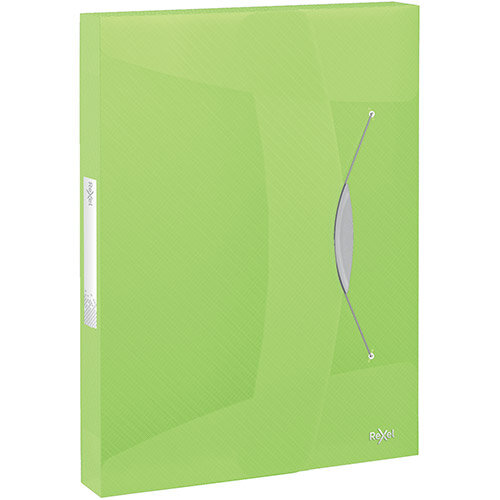 Rexel Choices Box File PP Elastic Strap 40mm Spine A4 Trans Green Pack of 5 Ref 2115671