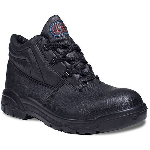 Supertouch Chukka Black Boots Leather with Steel Toecap & Midsole Size 4