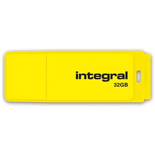 Integral Neon USB Drive 2.0 32GB Yellow Ref INFD32GBNEONYL
