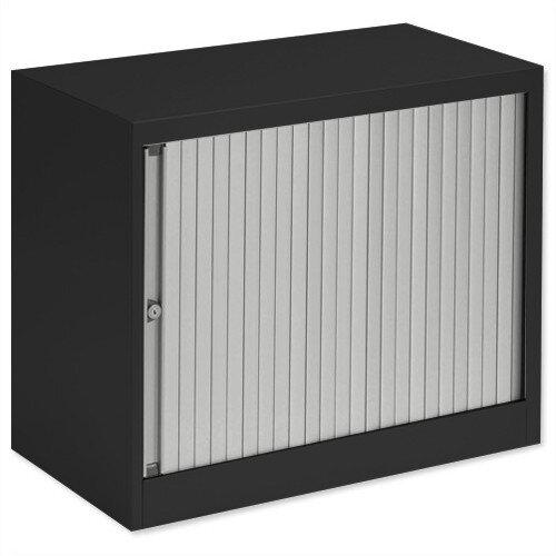 Bisley Desk High Tambour Door Cupboard W800mm Black Frame &Silver Shutters