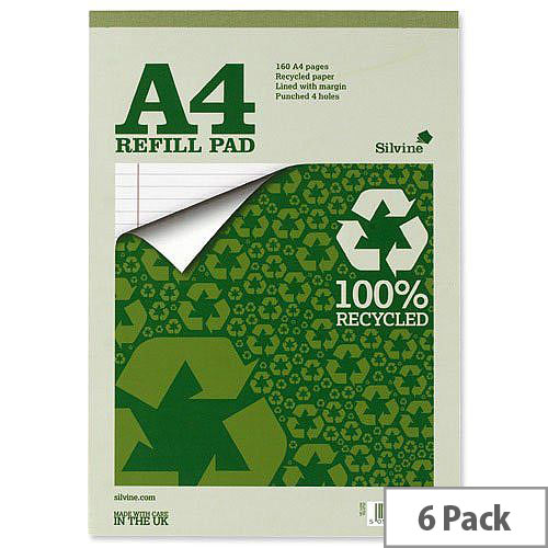Silvine A4 Refill Pad Recycled 160 Pages Pack 6