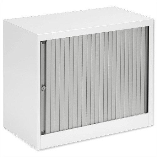 Bisley Desk High Tambour Door Cupboard W800mm White Frame & Silver Shutters