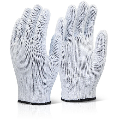 Click2000 Mixed Fibre Work Gloves Light Weight White One Size Fits All Pack of 240 Pairs Ref MFGLW