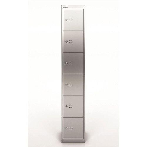 Bisley Steel Locker 305mm Deep 6 Door Silver