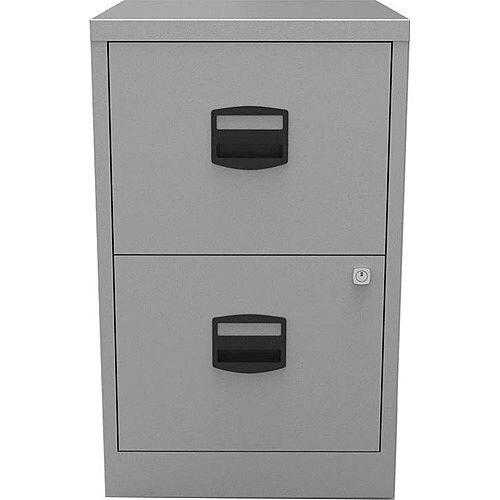 PFA2 A4 Home Filer 2-Drawer Lockable Filing Cabinet Silver