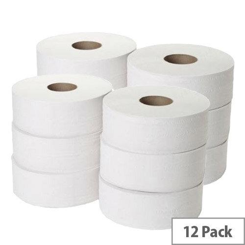 Maxima Mini Jumbo Toilet Dispenser Refill Tissue Rolls 2-Ply 200m White Pack of 12