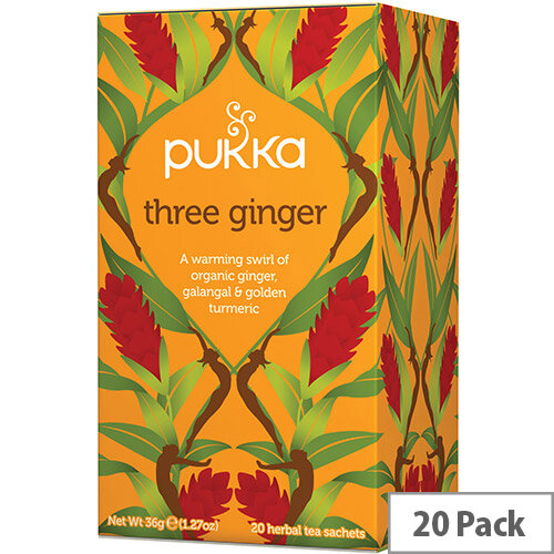Pukka Individually Enveloped Tea Bags Three Ginger Ref 5065000523428 Pack of 20