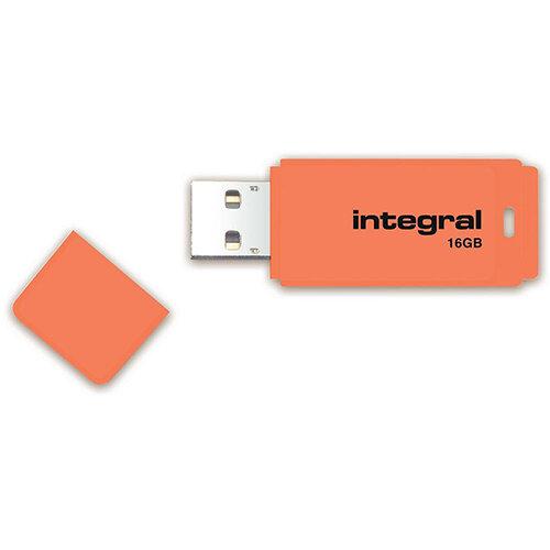Integral Neon 16GB USB Flash Drive Orange Ref INFD16GBNEONOR