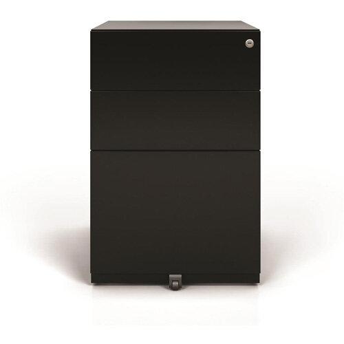 Tall Mobile Steel Pedestal Under Desk 3 Drawer 2 Stationery &1 Filing Black Ref NWA52M7SSF-av1