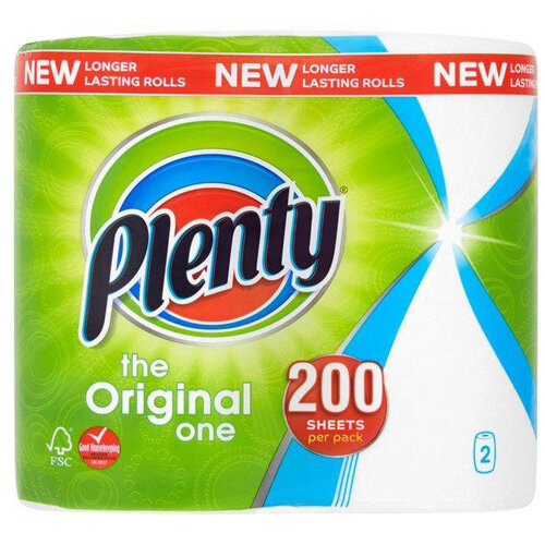 Plenty The Original One Double Kitchen Paper Towel Rolls 100 Sheets per Roll Pack of 2