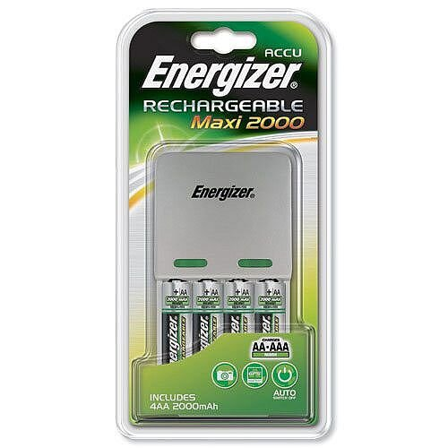 Energizer Maxi Battery Charger 4x AA Batteries 2000 mAh UK 633151
