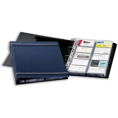 Durable Visifix Business Card Album 4-ring A-Z Index Capacity 400 A4 Dark Blue 2388-07