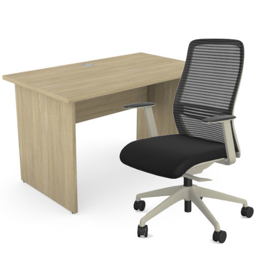 Home Office Ashford Desk W1200xD700mm 25mm Desktop Panel Legs Urban Oak &NV Posture Office Chair with Contoured Mesh Back and Adjustable Lumbar Support Lime White Frame Black Seat