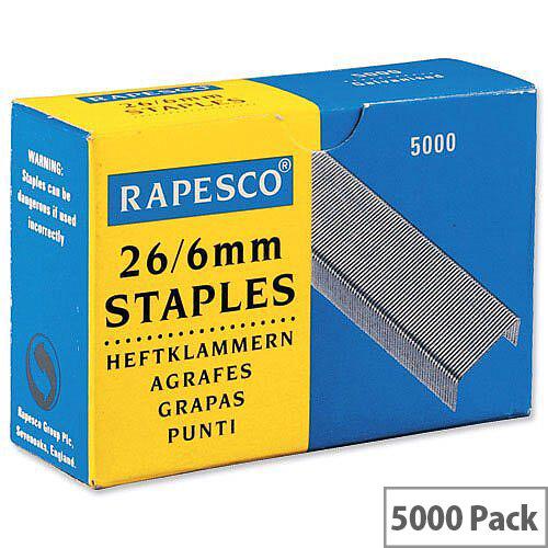 Rapesco 26-6mm Staples S11662Z3 Box 5000
