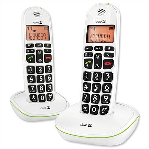 Doro PhoneEasy 100w Telephone Twinpack Cordless Big Buttons 20-entry Phonebook 1 Caller ID