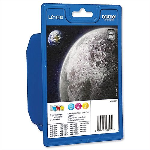 Brother LC-1000 C/M/Y 3 Colour Multipack Ink Cartridges LC1000RBWBP