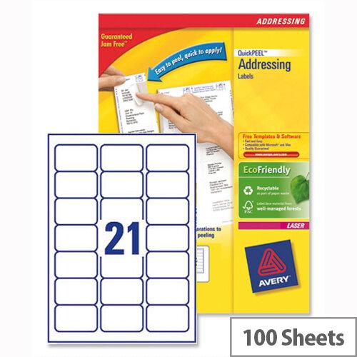 Avery L7160-100 Address Labels 21 per Sheet 63.5x38.1mm 2100 Laser &Inkjet Labels