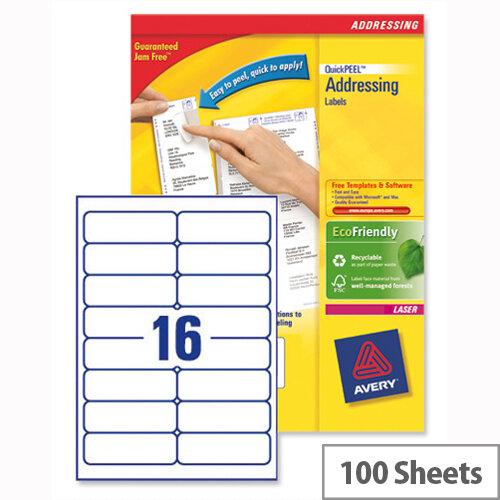 Avery L7162-100 Address Labels Laser 16 per Sheet 99.1x33.9mm White 1600 Labels