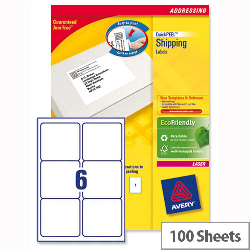 avery l7166 100 address labels laser 6 per sheet 99 1x93 1mm white