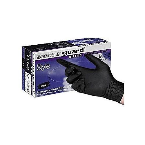 Semperguard Black Nitrile Gloves Powder Free MEDIUM Pack of 100