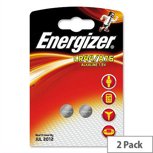 Energizer Pack Of 2 LR44 (A76) Button Cell Coin Batteries 1.5V - Suitable For Use With Hearing Aids, Wireless Keys, E-Book Readers &More.
