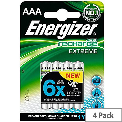 Energizer Extreme Accu AAA Battery Rechargeable 800mAh (Pack of 4) 635751