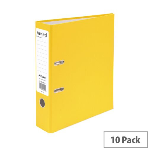 Rexel Karnival Lever Arch File 70mm A4 Yellow Pack of 10
