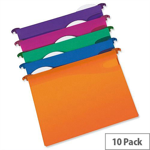 Rexel Multifile Foolscap Suspension File Plastic 30mm Assorted Pack 10 - Made from durable polypropylene - Assorted colours: 2 each of blue, pink, purple, green and orange