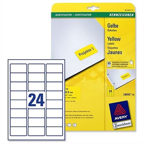 avery yellow coloured labels laser 63 5x33 9mm 20 x 24