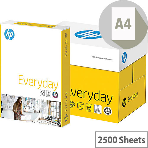 HP Hewlett Packard A4 75gsm White Everyday Printer/Copier Paper Box of 2500 Sheets