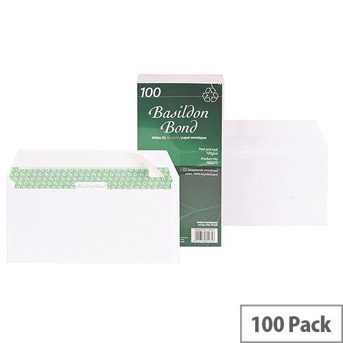 Basildon Bond DL Envelopes Peel and Seal White 100gsm Pack of 100