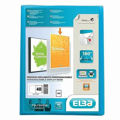 Clear Pocket Display Book 40 Clear Pockets A4 Blue Elba Polyvision