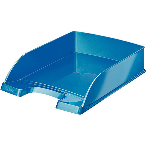 Leitz WOW Bright Letter Tray Stackable Glossy Metallic Blue Pack of 5
