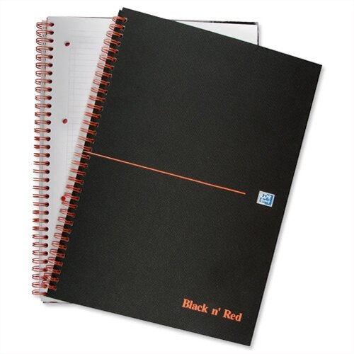 Black n Red A4 Wirebound Book Perforated Matt Black 140 Pages F66077 Pack 5