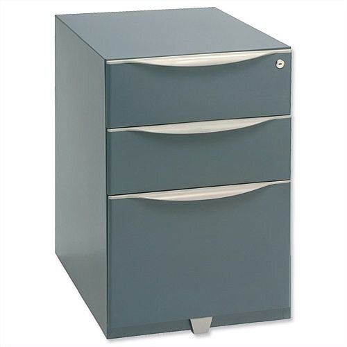 Bisley Wave Mobile Pedestal 2 Stationery & 1 File Drawer 645H Grey WVA52MSSF-F4