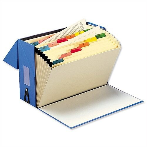 Expanding Box File Foolscap Blue 20 Pockets A-Z 5 Star - 20 Concertina Like Pockets That Can Take Both A4 &Foolscap. Can Hold Up To 760 A4 Sheets &Is Made From Material That Can Be Recycled. Ideal In Offices, Schools, Colleges &More.