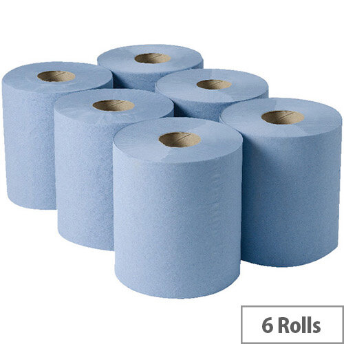 2Work Dispenser Centrefeed Cleaning Paper Towel Rolls 3-Ply Blue Rolls 135m (Pack of 6) 2W00083