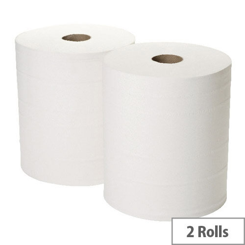2Work Industrial Cleaning Paper Towels Rolls L360m x W280mm  2-Ply Forecourt White Rolls Pack of 2 1WH101