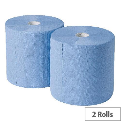 2Work Industrial &Garage Tissues Refill Dispenser Paper Cleaning Rolls 3-Ply 170m x 250mm Pack of 2 Blue Rolls GEM503B