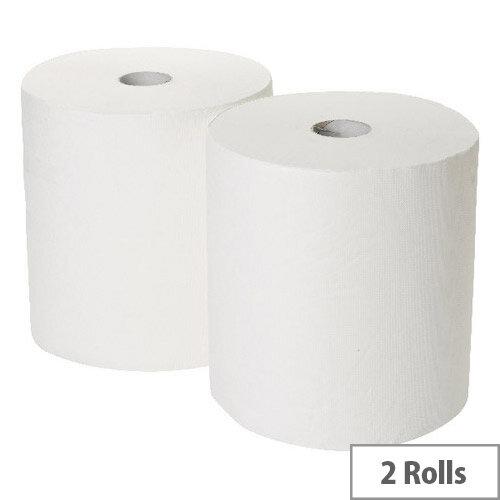 2Work Industrial &Garage Dispenser Paper Cleaning Rolls 3-Ply White 170m x 250mm Pack of 2 White Rolls GEM503B