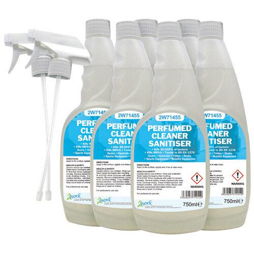 2Work Perfumed Spray Wipe Sanitiser 750ml Pack of 6 211SVW