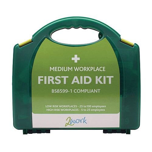 2Work Medium BSI BS8599-1 Standards First Aid Kit X6051 Up to 10 Person