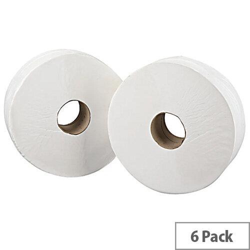 2Work Jumbo 76mm Core Dispenser Toilet Paper Rolls Refills 2-Ply White 92mm x410m Pack of 6 J27410