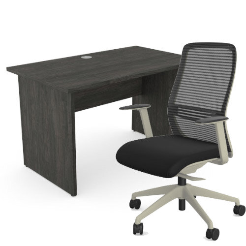 Home Office Ashford Desk W1200xD700mm 25mm Desktop Panel Legs Carbon Walnut &NV Posture Office Chair with Contoured Mesh Back and Adjustable Lumbar Support Lime White Frame Black Seat