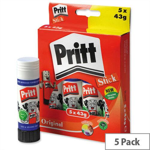 Pritt Glue Stick Washable Non Toxic Large - 43g Pack 5