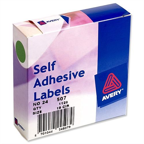 Avery Round Green Labels Dispenser for Diam.19mm 24-507 1120 Labels