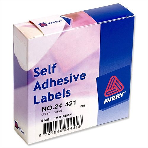 Avery White Label Dispenser 19x25mm 24-421 1200 Labels