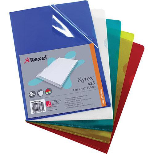 Rexel Nyrex Green Cut Flush Folder A4 Pack 25 x 4