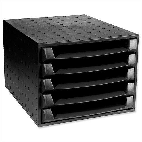Exacompta 5 Drawers Set Recycled Plastic Black Ecoblack